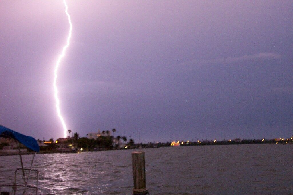 Lightning strikes the Tampa area on June 10, 2004. Photo taken from the boat dock across the street from the Sea Cove motel, 315 Coronado Drive.